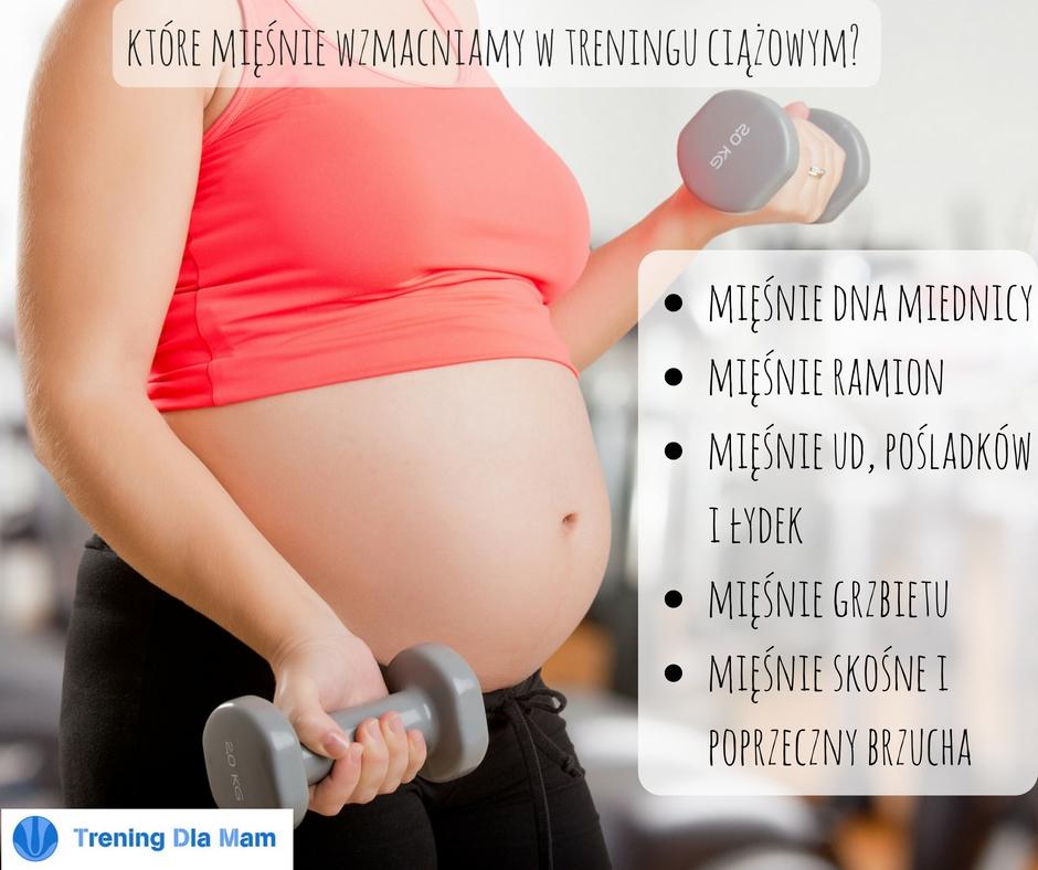 kobieta w ciąży ćwiczy z hantlami